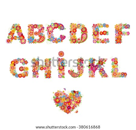 Floral alphabet with funny colorful flowers. Part 1
