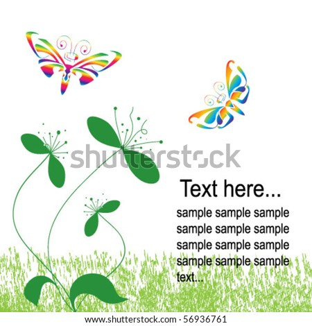 floral and butterfly colorful background - stock vector