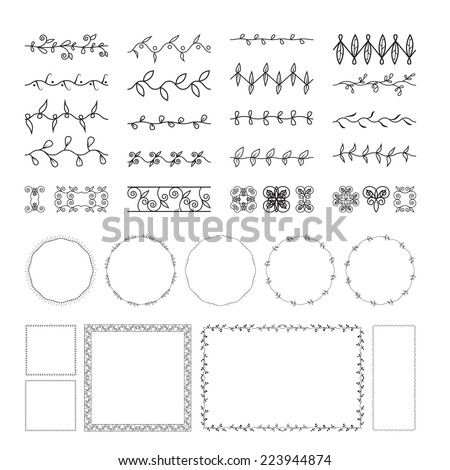 Floral and lace design elements set, ornamental vintage frames with circles. Page decoration. Isolated on white background. Can use for birthday card, wedding invitations. Vector floral set. - stock vector