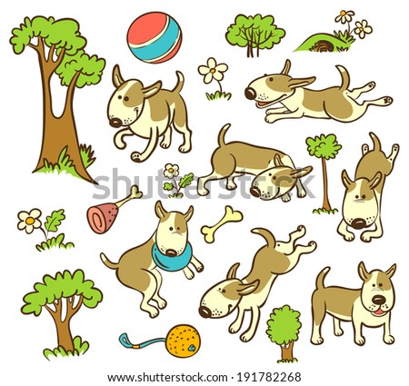 Floral and trees seamless pattern with dogs - stock vector
