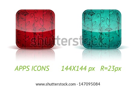 Floral app buttons in color variations on white background with reflections. Vector eps10. (standard 144x144px icon R=23px) - stock vector