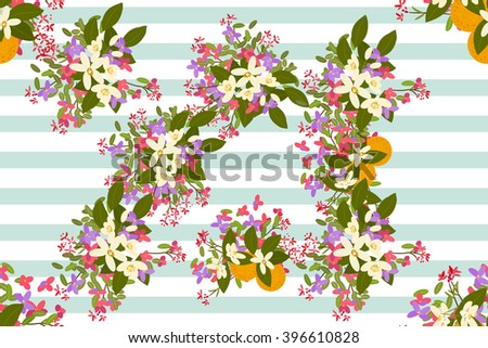 Floral  arabis, orange background vector illustration. Sprig of mimosa, flowers and leaves of sakura, cherry and magnolia, spring background, floral greeting card