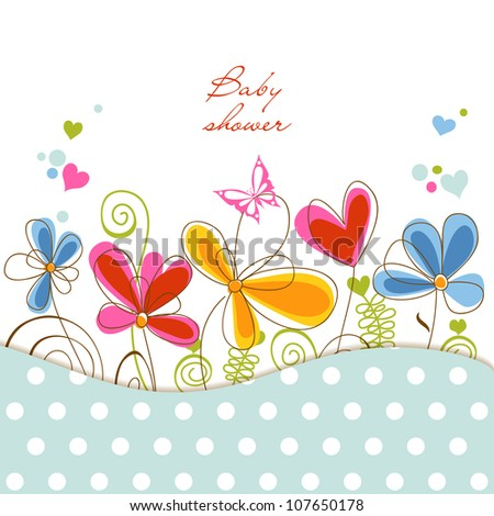 Floral baby shower - stock vector