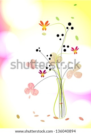 Floral background. A bouquet in a vase - stock vector