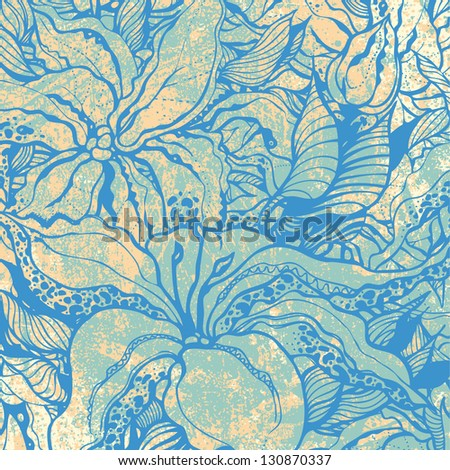 floral background and grunge texture. engraved retro style. vector illustration