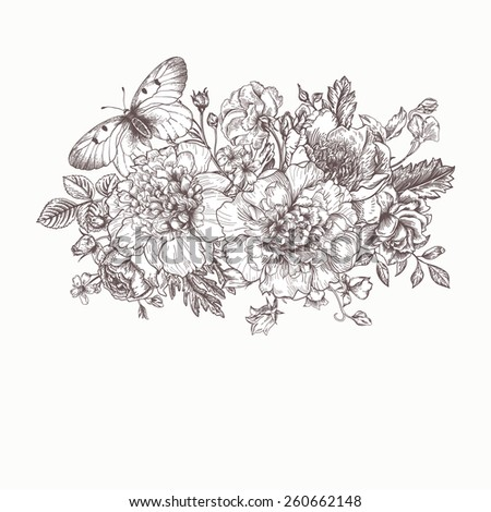 Floral background. Card with a bouquet of flowers and a butterfly. Peonies, roses, buttercups, peas. Black and white illustration. - stock vector