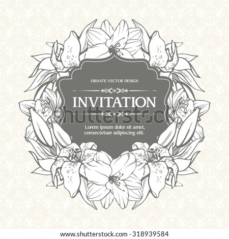 Floral background design in vintage style. Vector botanical illustration. Template greeting card, wedding invitation banner with spring flowers. Sketch linear beautiful flowers in frame composition - stock vector