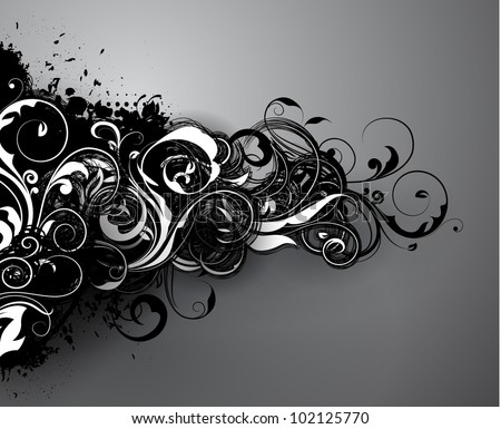 Floral background design of black and white swirling and waving branches, with vector shadow effects on gray background - stock vector