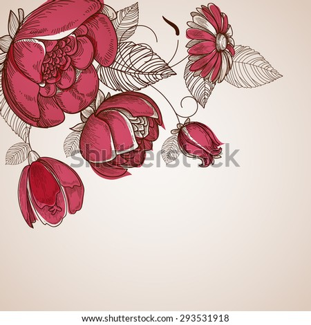 Floral background, flowers branch corner ornament - stock vector