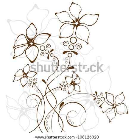 floral background, flowers contour drawing - stock vector