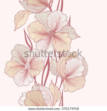 Floral background. Greeting card with flower. Flourish border. Gentle decor with summer flower dahlia. Gentle flourish vector illustration - stock vector