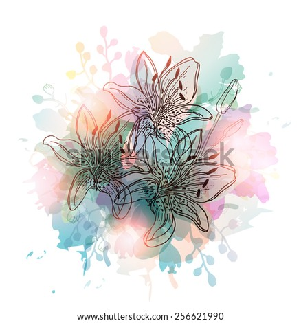 Floral Background-Hand Drawn Lily Flowers - stock vector