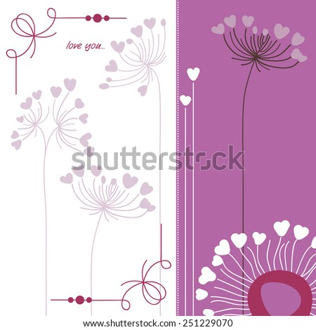 Floral background in purple and white - stock vector