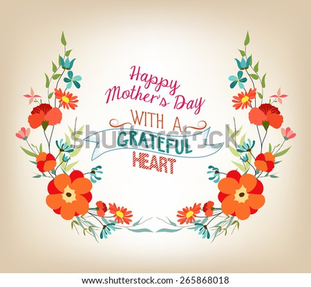 Floral background mothers day greeting card with decorative flowers - stock vector