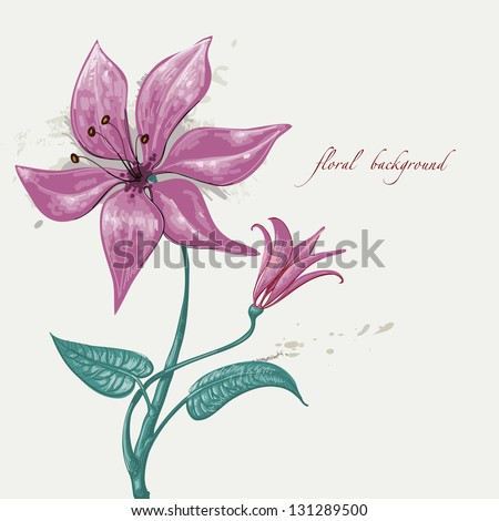 Floral background paint - stock vector