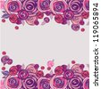 Floral background. Pink and purple roses border. Vector illustration. - stock photo