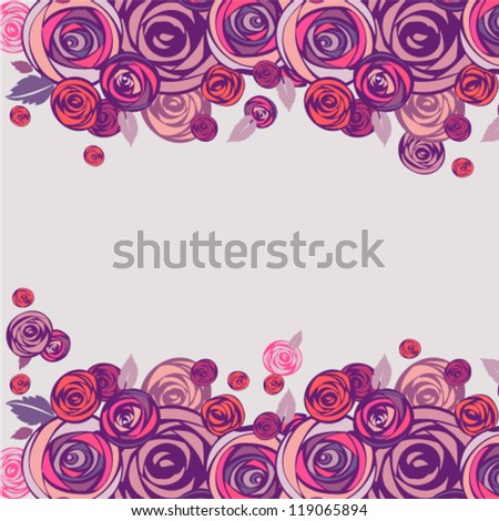 Floral background. Pink and purple roses border. Vector illustration. - stock vector