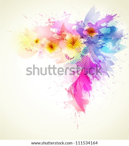 floral background template vector background with blots - stock vector