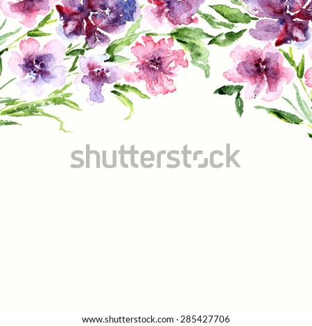 Watercolor Floral Border Birthday Card