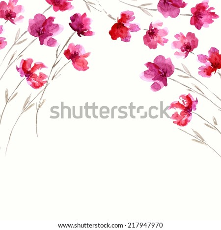 Floral background. Watercolor floral bouquet. Birthday card. - stock vector