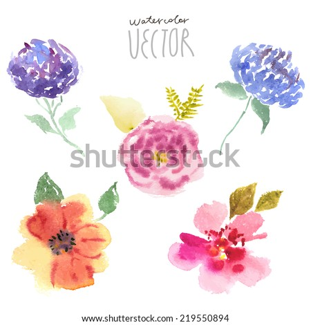 Floral background, watercolor painting vector - stock vector