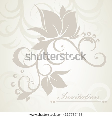 Floral background. Wedding card or invitation with abstract flora background. Greeting card. Elegance pattern with flowers in vintage style.Card for mothers day.