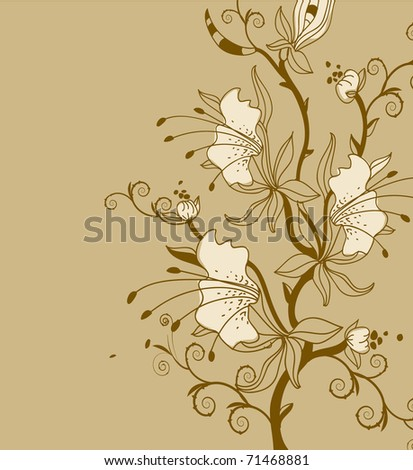 floral background with  a branch of fantasy flowers