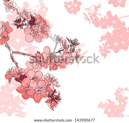 Floral background with a flower sakura