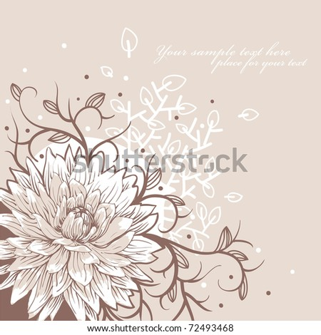 floral background with a single flower and fantasy plants - stock vector