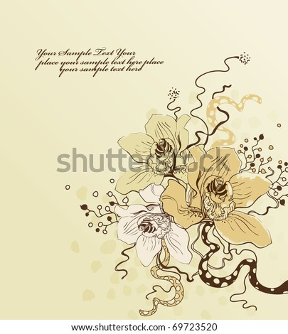 floral background with a spring bouquet of blooming orchids