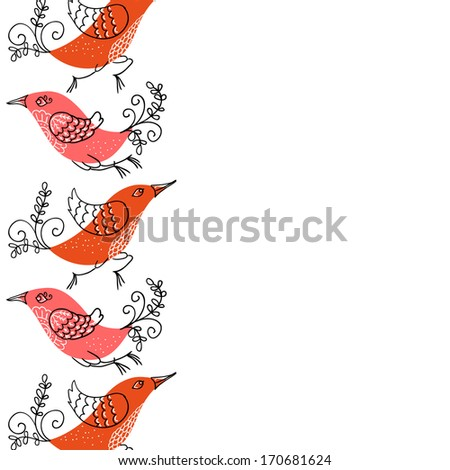 Floral background with birds - stock vector