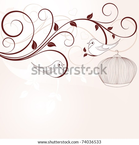 Floral background with birds. - stock vector