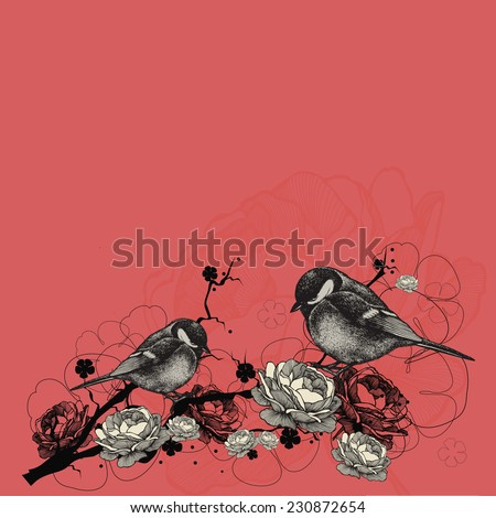 Floral background with birds and branches with flowers. Vector illustration. - stock vector