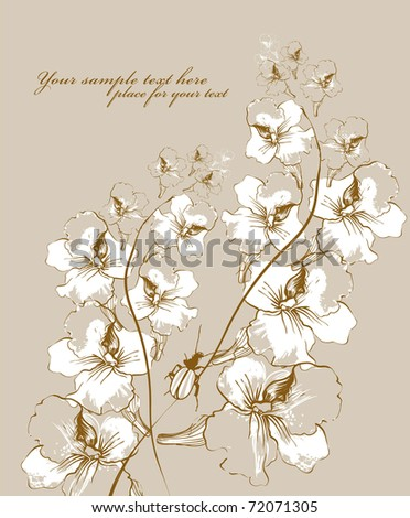 floral background with blooming flowers and a bug - stock vector