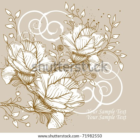 floral background with blooming flowers, swirls and leaves - stock vector