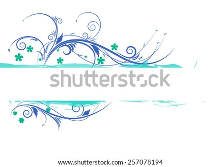Floral background with blue flowers and ornaments. Vector illustration  - stock vector
