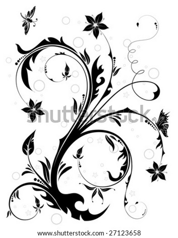 Floral Background with butterfly and dragonfly, element for design, vector illustration