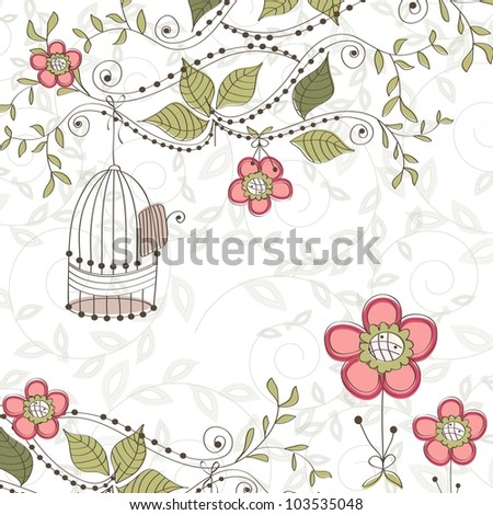 Floral background with cage, vector - stock vector