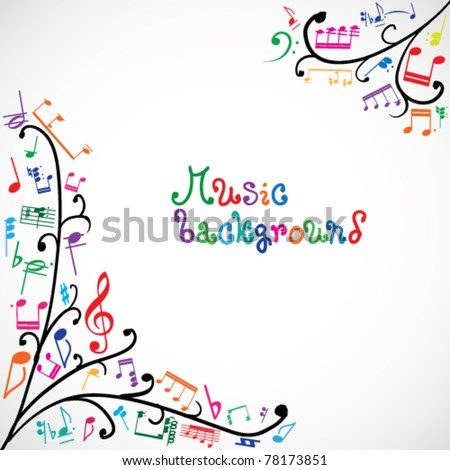 floral background colored music notes stock vector 78173851
