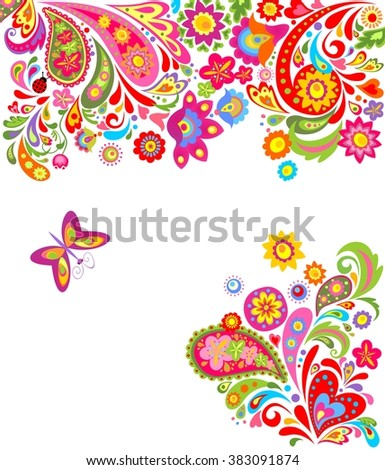 Floral background with colorful abstract flowers - stock vector