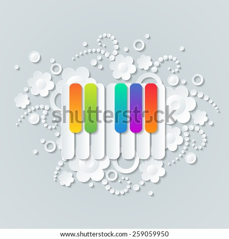 Floral background with colorful keys of pianoforte, musical theme wallpaper.  - stock vector