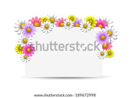 Floral background with daisy, vector illustration - stock vector