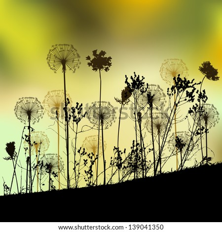 Floral background with dandelion - stock vector