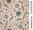 Floral background with decorative ornamental hand drawn flowers, petals and leaves. Seamless floral retro texture - stock