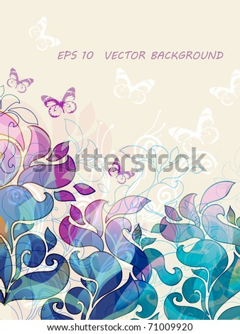 floral background with fantasy flowers and butterflies - stock vector