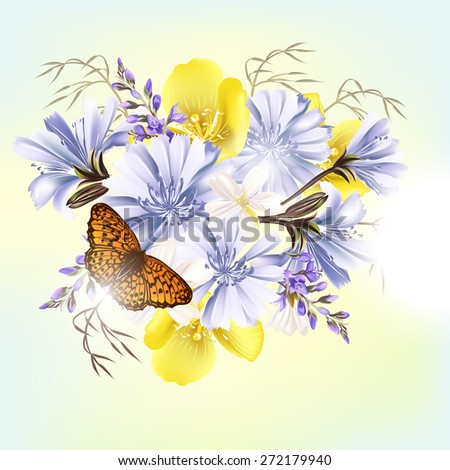 Floral background with flowers - stock vector
