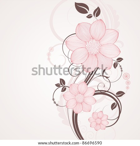 Floral background with flowers dahlia. Element for design. - stock vector