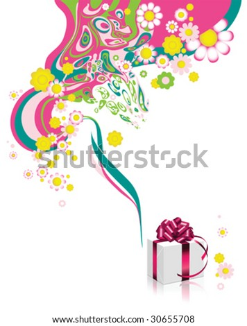 Floral background with gift box. All elements and textures are individual objects. Vector illustration scale to any size.