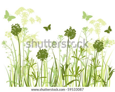 floral background with green grass and butterflies - stock vector