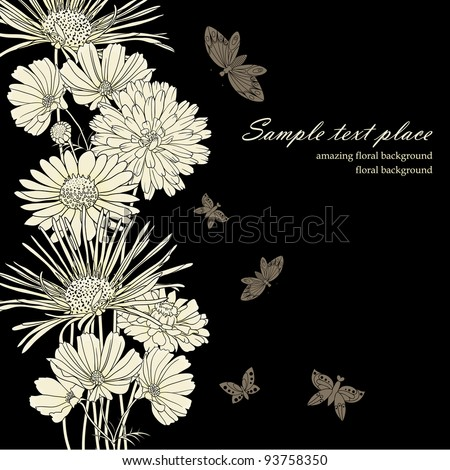 Floral background with hand drawn flowers. - stock vector